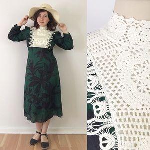 Zara Linen Crochet Bib Printed Dress Green M828